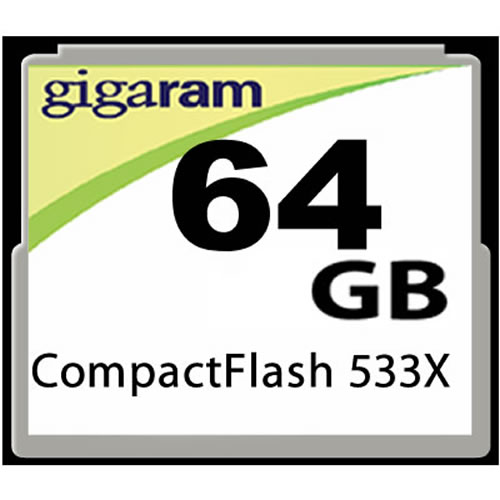 Gigaram CRY 64GB CF (Compact Flash) Card Hi Speed 533+ (CRY)