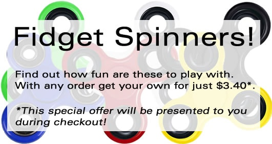 fidget Spinners as Special Offer with any order placed.